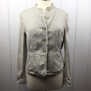 Michael Kors Tan Linen Frayed Hem Jacket 10
